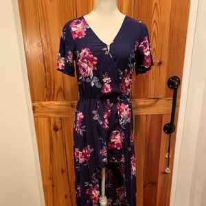 NAVY FLOWER PATTERN ROMPER/DRESS